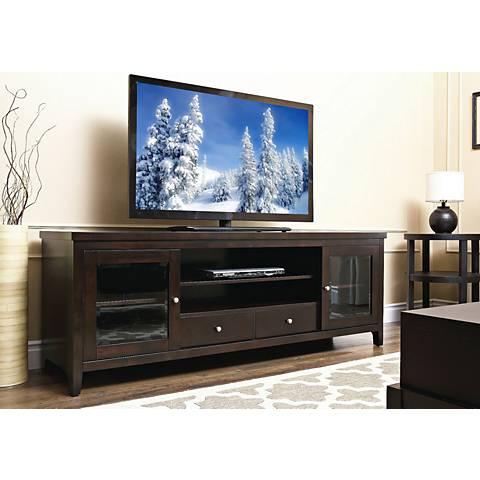 Arlington Rochester Espresso Solid Oak TV Stand