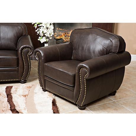 California Sierra Leather Brown Club Chair
