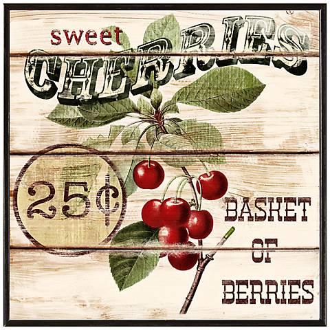 "Vintage Cherry Basket 10 1/2"" Square Decorative Wall Art"
