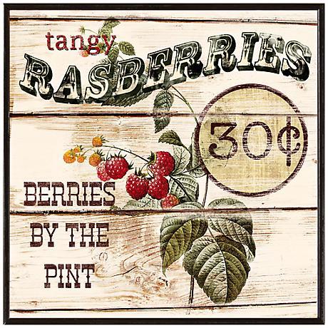 "Vintage Raspberry Basket 10 1/2"" Square Fruit Crate Wall Art"