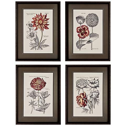 Set of 4 Floral I/II/III/IV Flower Wall Art