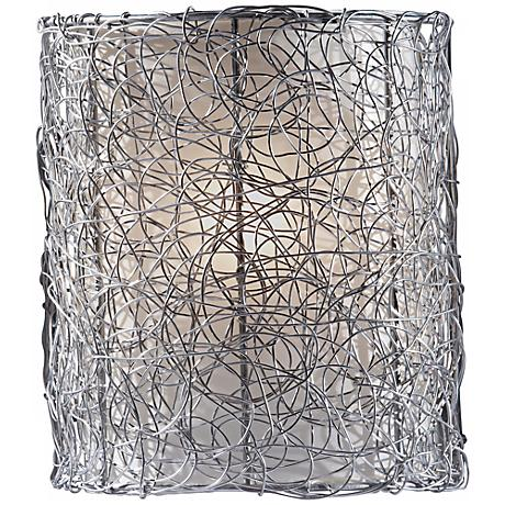 """Feiss Wired 9"""" High Brushed Steel Wall Sconce"""