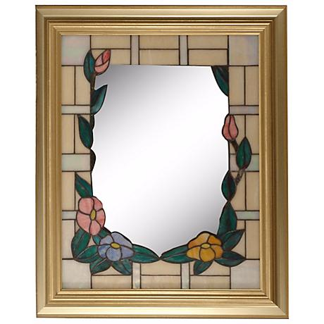 "Dale Tiffany Peony Gold 34"" High Art Glass Wall Mirror"