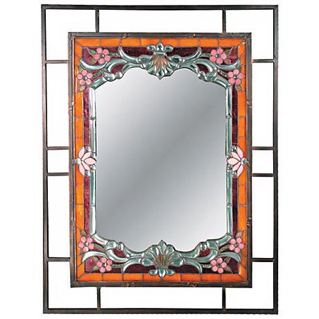 "Dale Tiffany Alexei 36"" High Art Glass Wall Mirror"