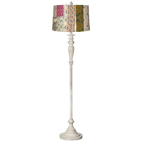 Patchwork Shade Vintage Chic Antique White Floor Lamp