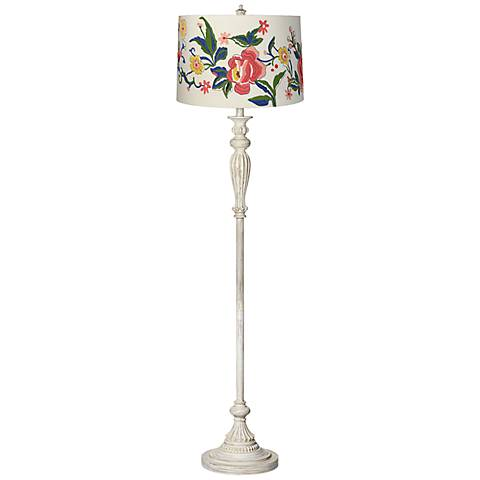 Embroidered Floral Vintage Chic Antique White Floor Lamp