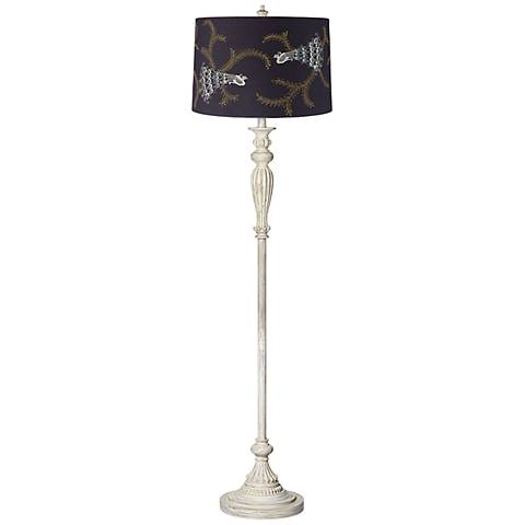 Embroidered Peacock Shade Antique White Floor Lamp