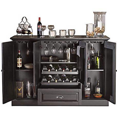 American Heritage Carlotta Antique Black Bar Cabinet