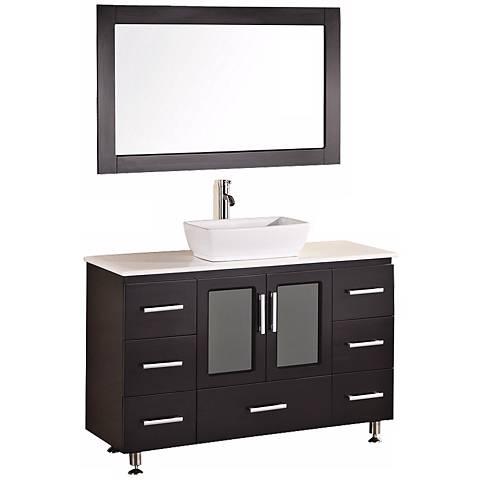 "Stanton Dark Espresso 48"" Wide Vessel Sink Vanity Set"