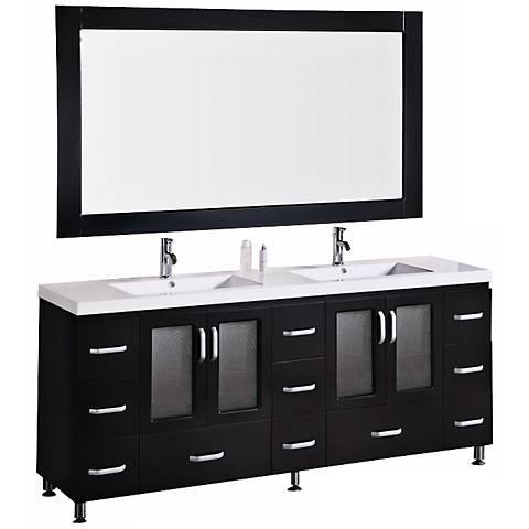 """Stanton Dark Espresso 72"""" Drop In Double Sink Vanity Set"""