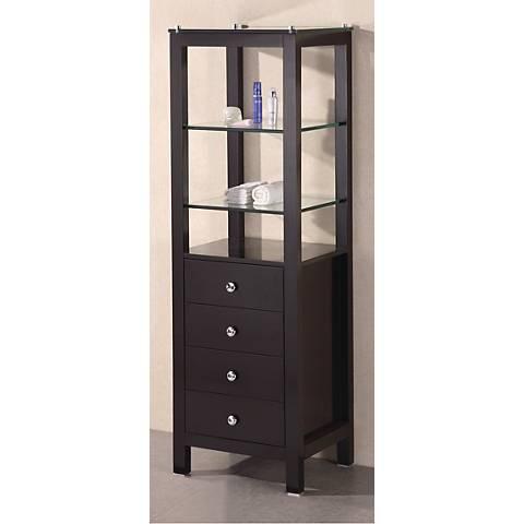 Contemporary Dark Espresso Oak Wood Linen Cabinet