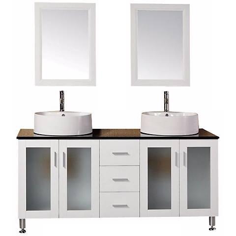 "Malibu White 60"" Wide Modern Double Sink Vanity Set"