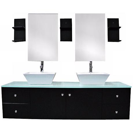 "Portland Espresso 61"" Wide Double Sink Floating Vanity Set"