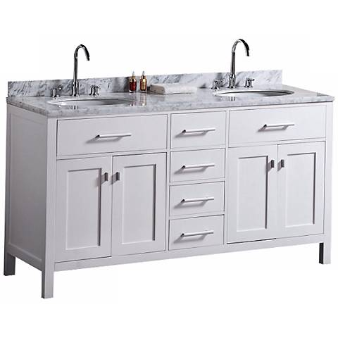 "London 61"" Marble White Double Sink Vanity"