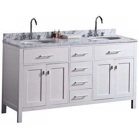 "London 61"" Marble White Double Sink Vanity"