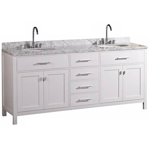 "London 72"" Marble White Double Sink Vanity"