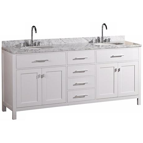 "London 72"" Marble White Double Sink Vanity"
