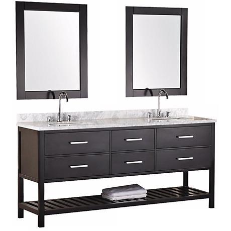 "London 72"" Wide Espresso Marble Double Sink Vanity"