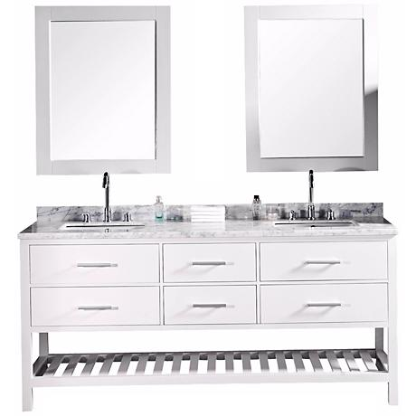 """London 72"""" Wide White Marble Double Sink Vanity"""