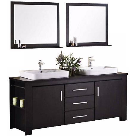 "Washington Espresso 72"" Double Sink Vanity Set"
