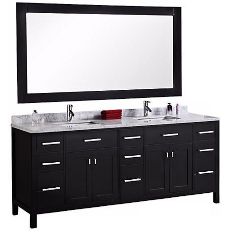 "London 78"" Wide Marble Espresso Double Sink Vanity"