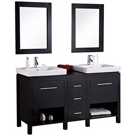 """New York Espresso 60"""" Contemporary Bathroom Vanity Set"""