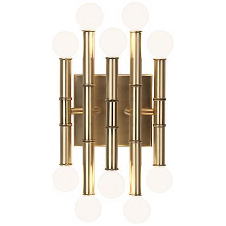 """Jonathan Adler Meurice 12"""" High Antique Brass Wall Sconce"""