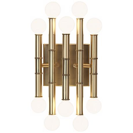 adler meurice 12 high antique brass wall sconce x3483 lamps plus. Black Bedroom Furniture Sets. Home Design Ideas