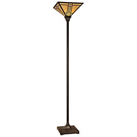 dale tiffany noir art glass torchiere floor lamp x3514 lamps plus. Black Bedroom Furniture Sets. Home Design Ideas