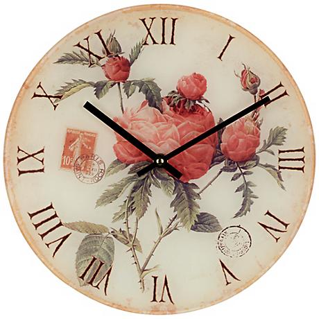 "Flowers 12"" Wide Decorative Wall Clock"