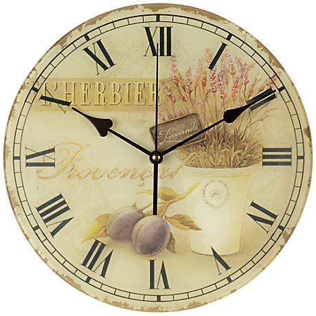"""Olives and Herbs 12"""" Wide Round Wall Clock"""