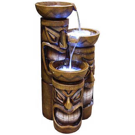 "Three Tier LED Tiki Head 29"" High Fountain"