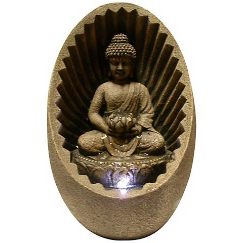 "Buddha Sunburst 11""H Tabletop Zen Fountain with LED Light"
