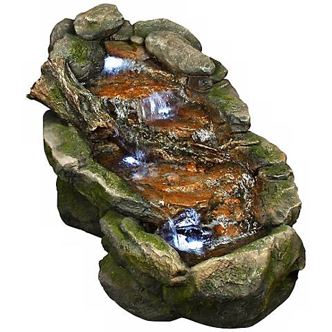 "Mossy Rocks LED 21"" High Fountain"
