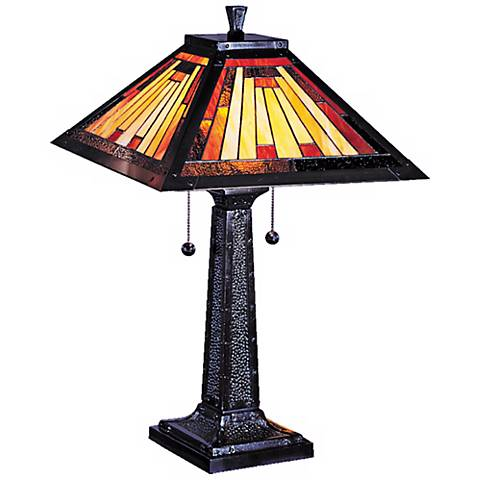 Dale Tiffany Mission Camelot Art Glass Table Lamp X3733