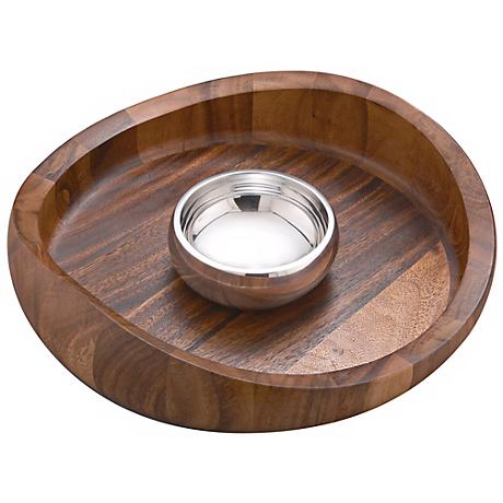 Nambe Butterfly Wood and Metal Chip and Dip Bowl