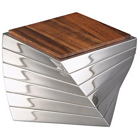 Nambe Twist Barware Metal Alloy and Wood Coasters Set of 6