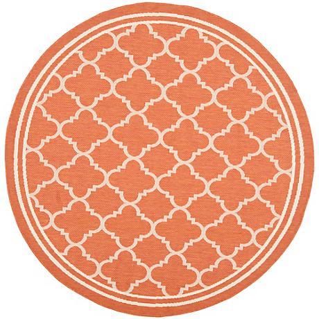 "Courtyard Collection CY6918O 6'7""x6'7"" Terracotta Rug"