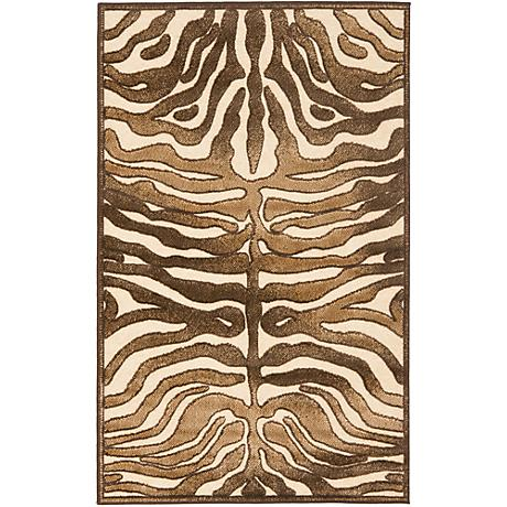 Paradise Collection PAR83C Creme Zebra Area Rug
