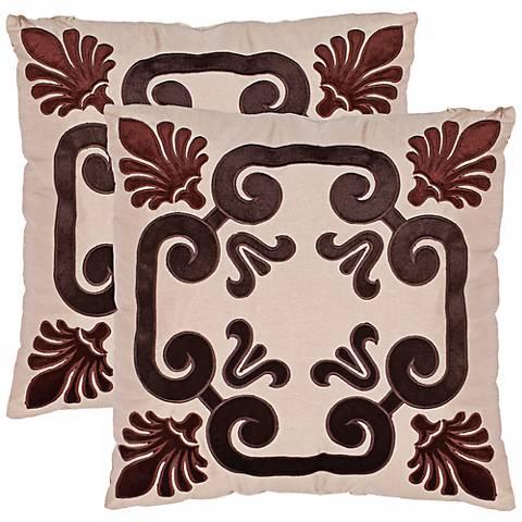 "Set of 2 Monacelli Chocolate Brown 18"" Safavieh Pillows"