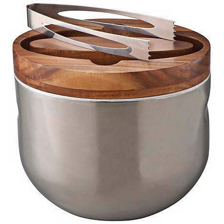 Nambe Mikko Wood and Metal Ice Bucket
