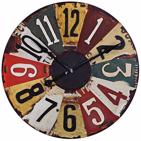 """Uttermost Vintage License Plates 29"""" Wide Wall Clock"""
