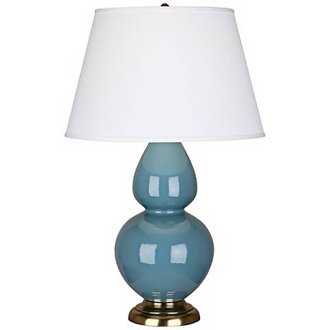 "Robert Abbey 31"" Steel Blue Ceramic and Brass Table Lamp"