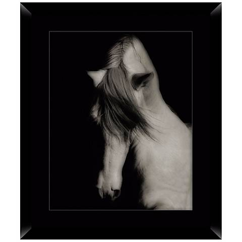 "Black Horse 26 1/2"" High Framed Photo Wall Art"