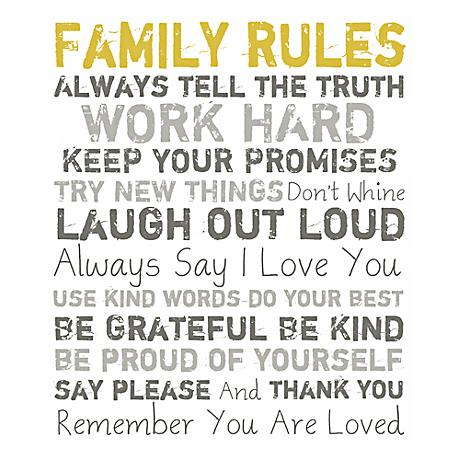 "Family Rules 20"" High Motivational Wall Art"