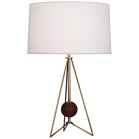 Jonathan Adler Ohai Walnut and Brass Table Lamp