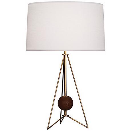 Jonathan Adler Ohai Walnut And Brass Table Lamp X4981