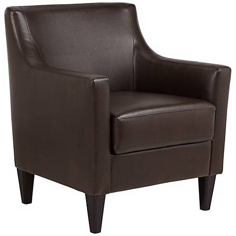 Gavin Saddle Brown Faux Leather Accent Chair