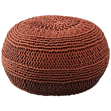 """Rust Red 20"""" Wide Roped Cotton Pouf Ottoman"""