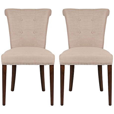 Set of 2 Luxe Almond Dining Chairs